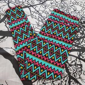 4/$25 LuLaRoe Leggings TC Pink, Teal Black Chevron